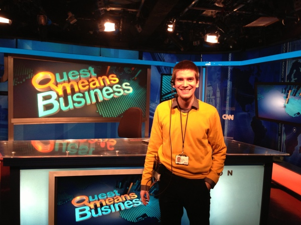 Journo grad Artur Osinksi in the Quest Means Business studio at CNN